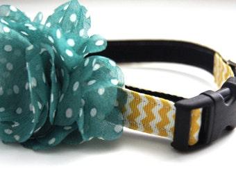 Aqua Blue Polka Dot Flower Dog Collar Attachment