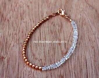 Quartz Crystal Bracelet - Quartz Bracelet - Crystal And Copper Beaded Bracelet - Healing Gemstone Bracelet - 3rd Or 7th Anniversary Gift