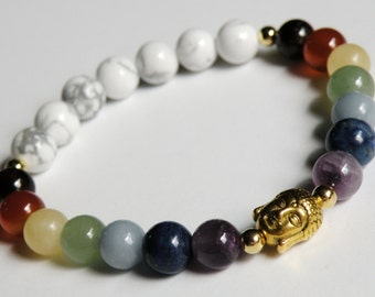 Buddha Chakra Bracelet with Natural Gemstones unisex gold stretch bracelet *FREE SHIPPING USA* 315.5W