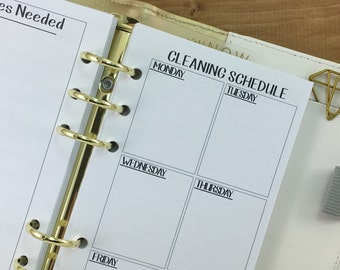 Personal Cleaning Schedule printed planner insert - supplies needed - clean house - chores - weekly maintenance - Personal Wide