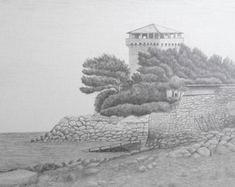 Coastal fort -- Original Graphite drawing   Detailed seascape drawing with architectural elements.