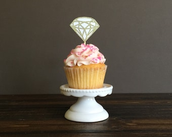 Diamond Cupcake toppers, bridal shower cupcake toppers, bridal shower decorations, wedding cupcake toppers, engagement party decorations