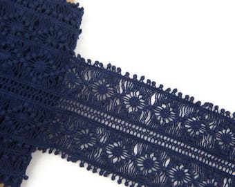 Dark Blue Cotton Lace Trim Wide 3 yards and 15 inches NLT00180