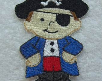 Little Pirate Embroidered Iron on Applique Patch Ready to Ship