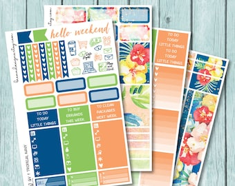 Tropical Navy Vertical Weekly Kit, Planner Stickers for use with ERIN CONDREN LIFEPLANNER™