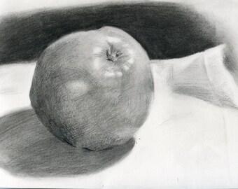 Apple study #10 (Original charcoal drawing)