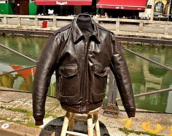 Vanson Brown leather Jacket original made in Usa aviator size XL
