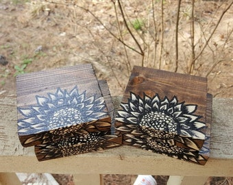 Reclaimed Hand Painted Sunflower Coasters Cork Backed Set of 4