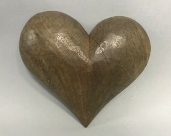 Carved Solid Wood Paper Mache Mold of Heart
