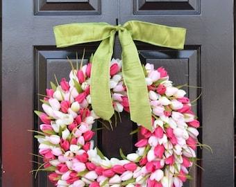 SUMMER WREATH SALE Pink Tulip Spring Wreath- Door Wreath- Easter Wreath- Tulip Wreath- 20 inch shown, custom colors- The Original Tulip Wrea