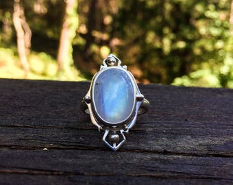 Vibrant Victorian Rainbow Moonstone Ring Handmade in Sterling Silver