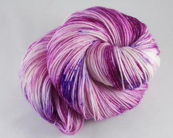 Hand Dyed Sock Yarn, hand dyed wool, variegated sock yarn, speckle sock yarn, nylon sock yarn, pink, purple