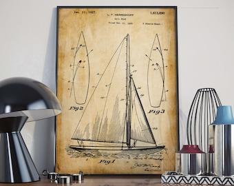 Sail Boat Patent Poster| Gift for Seaman| Nautical Decor| Sailing Art| Boat Wall Poster| Water Sports Art| HPH289
