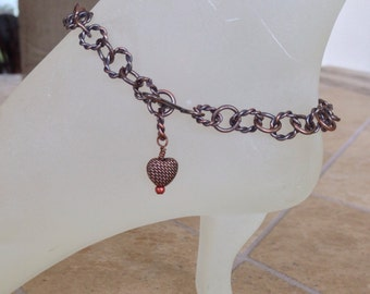Antique Copper Ankle Bracelet with Antique Copper Heart Wire Wrapped Bead Charm, Adjustable up to 10.5 Inches With Your Choice of Clasp