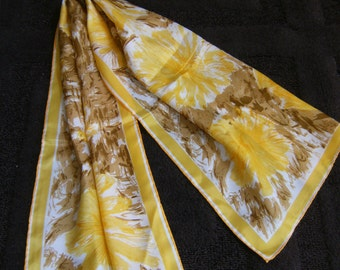 Vintage Vera Neumann Ladybug Scarf Yellow Flowers Brown 45 Inches Long 664