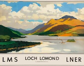 TX290 Vintage Loch Lomond Scotland lms lner Railway Travel Tourism Poster Re-Print Wall Decor A2/A3/A4