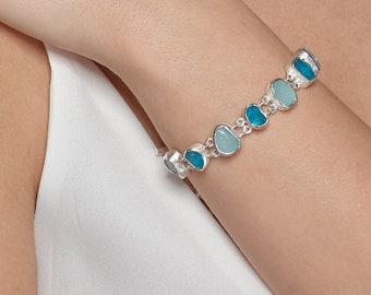 Handmade Aquamarine and Apatite Rough Natural Gemstone Sterling Silver Ladies Bracelet