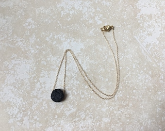 Lava + Sterling Silver/Gold Essential Oil Diffuser Necklace - Floating, Flat Circle