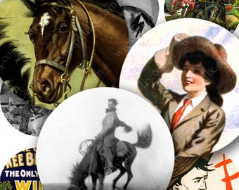 Vintage Cowgirls and Cowboys Digital Collage Sheet in 1 Inch Circles Horses Rodeo for Bottlecap Art Jewelry Crafts and More piddix 284