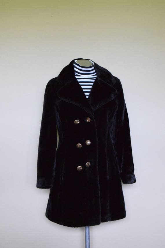 Vintage Black Faux Winter Fur Coat  w/Gold Buttons & Chains ~ Old Hollywood, Witchy Wear, Victorian