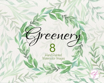 Greenery watercolor Clipart , Leaves wreaths ,Branches ,Spring,Wedding invitation,Mother's Day,Greeting card