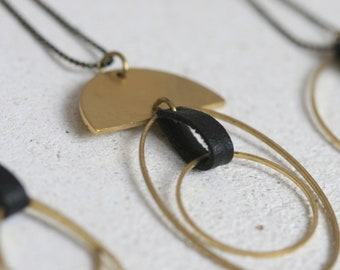 Various Geometric Brass and Black Faux Leather Necklaces | Minimalist | Geometric | Gift