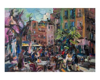Giclee Fine Art Print - Street Cafe on the Square in Granada, Spanish Cityscape Original Oil Painting Impressionist Abstract Figurative Oils