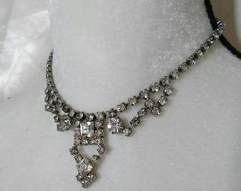 Vintage Rhinestone Necklace Old Hollywood Retro Pinup Victorian Gothic