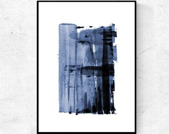 Navy blue watercolor printable, downloadable print, printable living room art, downloadable abstract prints, abstract art, digital painting