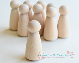 "6 Miniature Wooden Little People Little Girl 2"" -Girl Wooden Doll -Miniature Wooden Little People -Wooden Girl Doll -Unfinished Wooden Dolls"