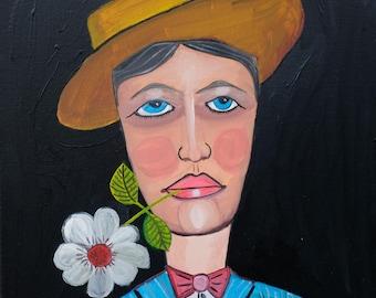 Guy with Flower (original) | Folk Art