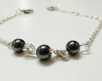 Bracelet silver plated and Hematite stones.