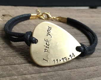 Guitar pick bracelet, guitar pick jewelry, hand stamped bracelet, personalized bracelet, boyfriend gift, husband, brother,dad gift for men
