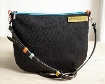 messenger black bag, crossbody bag with adjustable strap, canvas messenger bag, shoulder bag, black small bag with leather, free shipping