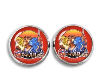 Thundercats Stud Earrings Thundercats Earrings 80s Cartoon Earrings 12mm Glass Dome Earrings