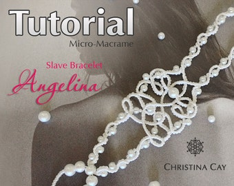"TUTORIAL PDF Micro-Macrame slave bracelet ""Angelina"" pattern beaded macrame"