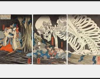 "UTAGAWA KUNIYOSHI ""Takiyasha the Witch and the Skeleton Spectre"" Giclee Art Print Poster Japanese Woodblock Horror Oriental Home Decor P100"