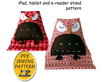 Free Pattern (Almost). Tablet stand sewing pattern. Owl design iPad stand. Instant download PDF.