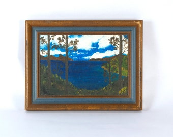 Sale! Vintage Folk Art Small Painting Landscape Was 15, now 10