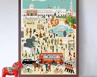 Out and About in London - Trafalgar Square A2 Art Print