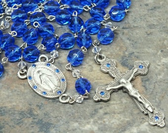 Czech Glass Rosary in Sapphire, September Rosary, Birthstone Rosary, 5 Decade Rosary, Catholic Rosary, Large Size Rosary