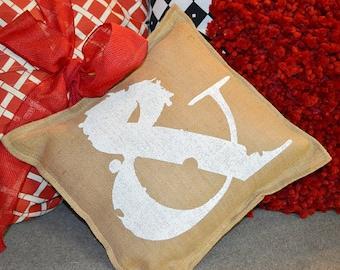 Painted Burlap AMPERSAND  Pillow …Hand  Screened on Burlap