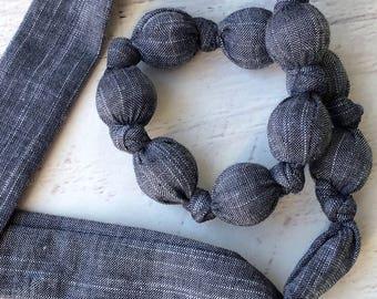 Chambray teething necklace - Fabric teething necklace for mom - Organic cotton teething necklace - Simple teething necklace - Denim teether