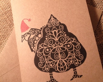 5 Chicken Butt Holiday Christmas greeting card