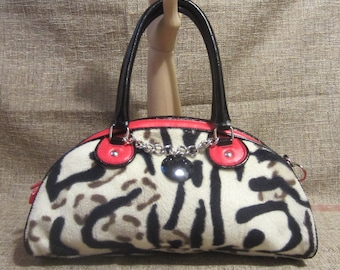 Faux Leather And Furry Re-purposed Convertible Shoulder Bag or Hand Bag Hand Painted Retouched Stripes Hand Detailed Touches