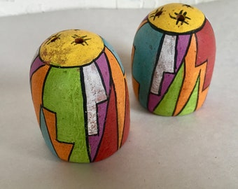 Vintage Old Hand Painted Clay Pueblo Salt and Pepper Shakers Mexican Pottery