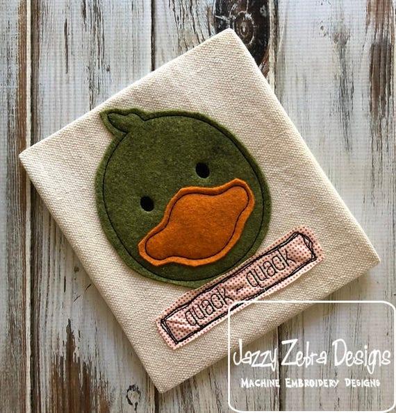 Duck quack quack shabby chic applique embroidery design - duck applique design - farm appliqué design - Old McDonald had a farm - duckling