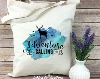 The Adventure is Calling Me w/ Deer (Stag) Tote Bag