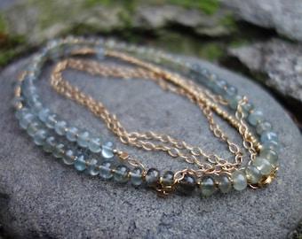 Moss Aquamarine Long Beaded Necklace, Gemstone Necklace, 24K Vermeil, Boho, Valentine Gift