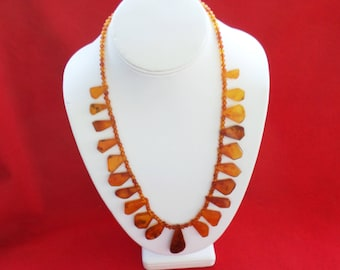 Baltic Amber Squash Blossom Necklace